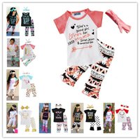 Wholesale tops shorts headband - 2018 Girls Baby Childrens Clothing Set Letter Tshirts Pants Headbands 3Pcs Set Fashion Summer Girl Kids Tees Tops Suit Boutique Clothes Suit