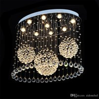 "lustres de cristal oval venda por atacado-Modern LED Ceiling Lights Rain Drop Oval K9 Crystal Ceiling Chandeliers For Living Room Dining Room Lighs Fixture L31.5 "" *W15. 8"""