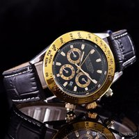 Wholesale automatic purple watch for sale - Top quality Fashion leather watches men luxury brand Casual designer Automatic calendar gold case Black dial aaa watch stainless steel clock
