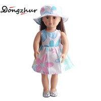 Wholesale Dress Games Girls - 18'' American Girl Doll Clothes Children's Home Game Dress Up handmade derss 18 Inch American girl Doll Flower Skirt&Hat Suit