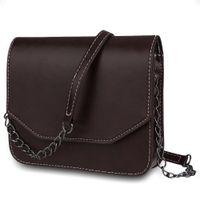 26c648d7d592 Ladies Chain Messenger Bag Leather Women Solid Color Crossbody Bag Magnet  Button Shoulder Belt Strap Bags