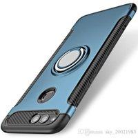 кронштейны для пк оптовых-Для Huawei Honor 7X Case автомобильный держатель стенд магнитный всасывающий кронштейн палец кольцо TPU+PC обложка противоударный металлическое кольцо Case для Huawei Honor 7X