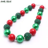 cuentas rojas para collar al por mayor-Estilo de Navidad de moda Kid Chunky Necklace Jewelry Green + Red Color Bubblegum Beads Chunky Collar para niños niñas