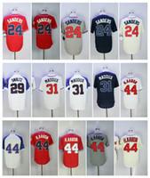 Wholesale Hank Aaron Baseball - Throwback Men 44 Hank Aaron Jersey 24 Deion Sanders 29 John Smoltz Retro 31 Greg Maddux Baseball Jerseys