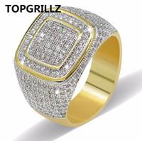 ágata piedra hombres anillo de oro al por mayor-Anillo de Hip Hop TOPGRILLZ All Iced Out Alta calidad Micro Pave CZ anillos mujeres hombres anillo de oro para el amor, regalo