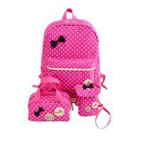 mochilas mochilas para meninas venda por atacado-Bonito Menina Sacos De Escola para Adolescentes Mochila Conjunto de Mulheres Ombro Sacos De Viagem 3 Pçs / set Mochila Mochila Crianças Crianças