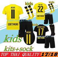 Wholesale borussia shirt - Top quality 2017 2018 Kids Kit + socks Borussia soccer jerseys 17 18 youth AUBAMEYANG GOTZE MOR REUS home away football shirt