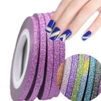 nagelstreifen strippband großhandel-1 Rolle 3mm Nail Art Glitter Striping Tape Color Linie Tipps Streifen für polnische DIY Nail Art Dekorationen mit glänzenden Pulver NC390