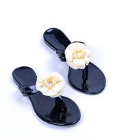 sandales d'été achat en gros de-Nouvel été femmes pantoufles florales tongs fleurs pantoufles sandales en pvc Camélia Jelly Shoes chaussures de plage