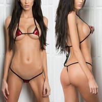 ingrosso swimwear mini stringa-Minimal Coverage Mini Bikini a goccia Mini G-String 2 Pezzi Bikini Top perizoma Costumi da bagno Extreme Sex String Costume da bagno