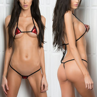 мини-шнур купальники оптовых-Minimal Coverage Sunbathing Micro Bikini Teardrop Mini G-String 2Piece Bikinis Thong & Top Swimwear Extreme Sex String Swimsuit