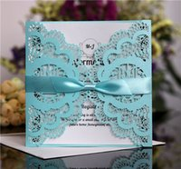 Wholesale invitations red ribbon resale online - Laser Cut Wedding Invitations Customized Birds Flowers Ribbon Bows Folded Wedding Invitation Cards With Envelopes BW HK5