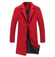 erkek kış uzun palto yün toptan satış-2018 Yeni Kış Erkekler Yün Trençkot Erkekler Uzun Siper Slim Fit Palto Yüksek Kalite Erkekler Coats Moda Siper Giyim MJ340