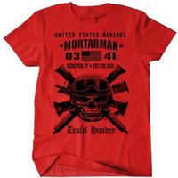 Wholesale black combat shirts - USMC Mortar Man T-Shirt US Marines MOS 0341 Combat Arms Men Cotton Tee New