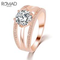 ingrosso colore bague-Romad cristalli austriaci anello in oro rosa color anillos anello vuoto bague femme fidanzamento anel anelli per le donne gioielli da sposa