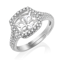 Wholesale Sterling Adjustable Ring - Luxurious Jewelry 1 Piece Adjustable 925 Sterling Silver Ring Accessories with Square Zircons Pearl Seat, for Wedding