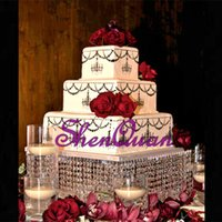 Wholesale beautiful wedding cakes resale online - Retail acrylic lighted crystal wedding cake stands acrylic cakecup square cake holder beautiful table centerpiece