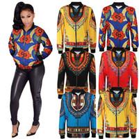 Wholesale Ladies Long Blue Coat - L-5XL Plus Size Women Casual Fashion Long Sleeved Autumn African Traditional Print Jacket Ladies Fall Ankara Bomber Dashiki Coat Outwear