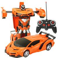 crianças controle remoto robô venda por atacado-Transformação Robots RC Carro Modelos de Carros Esportivos Controle Remoto Deformação Robôs De Carro RC Crianças Brinquedos Presentes de Aniversário das Crianças kid toys