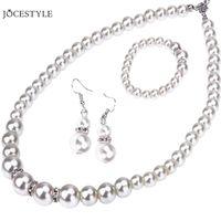 wasser perlenkette set großhandel-Water Washed Simulierte Perle Brautschmuck Sets Silber Farbe Hochzeit Halskette Sets Engagement Schmuck Zubehör