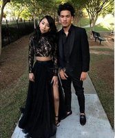 Wholesale Jacket Front Short Back Long - 2018 New African Long Sleeves Lace Two Piece Black Prom Dresses Sexy A-Line Tulle Side Split Evening Prom Party Formal Gowns Custom Made