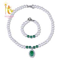 echte weiße achatschmuck großhandel-[NYMPH] Perlenschmuck Sets Für Frauen Echte Süßwasser Weiß 9-10mm Perlenkette Armband Mit Achat Für muttertag [T222]