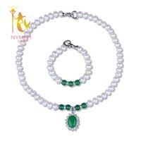 ingrosso monili genuini di agata bianca-[NYMPH] Set di gioielli di perle per le donne Genuine Fresh Water White 9-10mm Collana di perle con bracciale di Agate per la festa della mamma [T222]