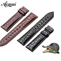 12мм кожаный ремешок для часов оптовых-Watchband 12mm 14mm 16mm 18mm 20mm 22mm 24mm Alligator Full-grain Crocodile Grain Genuine Leather bands Black Brown Watch Strap