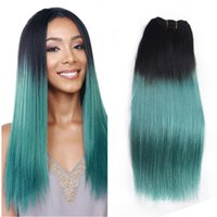 Wholesale two tone hair weave sale for sale - Group buy Hot Sale b Green Human Hair Weaves Two Tone Bundles Deals Ombre Dark Roots Green Silk Straight Virgin Human Hair Extension