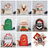 Wholesale heavy cotton canvas fabric - 26 colors Christmas Gift Bags Large Organic Heavy Canvas Bag Santa Sack Drawstring Bag With Reindeers Santa Claus Sack Bags for kids MMA344