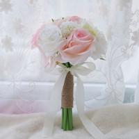 Wholesale white silk flower bridal bouquets for sale - Group buy 28 cm Vintage Wedding Bouquets For Bride Silk Hand Holding Flowers Handmade Wedding Bridal Bouquet Accessories White Rose