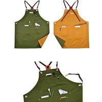 dövme çubuğu toptan satış-Yeni Tasarım Çift Taraf Pamuk Önlük Önlük W / Deri X Kayış Berber Barista Çiçekçi Cafe Bar Üniforma Salon Dövme Dükkanı Workwear