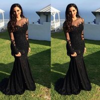 Wholesale free images sexy for sale - Group buy Black Prom Dresses Sexy Arabic Crystal Beaded Mermaid Long Sleeves vestidos de fiesta Formal Evening Gowns