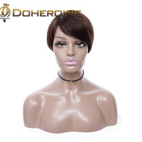 Wholesale straight human hair cut online - Brazilian Straight Human Hair Wigs Short Bob Straight Human Hair Wigs For Women Pixie Cute Cut Hair Glueless Elastic Net Cap