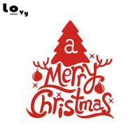 yılbaşı ağacı pencere çıkartmaları toptan satış-Yaratıcı Merry Christmas Ağacı Duvar Sticker Noel Sanat Duvar Çıkartması Mağaza Pencere Ev Dekor için WA0621
