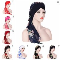 Wholesale muslim scarf for sale - Group buy India Muslim Floral Chiffon Head Scarf Wrap Colors Women Stretch Turban Cap Hats Long Tailed Bandanas Hair Accessories OOA5522