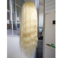 beyaz sarışın insan saç perukları toptan satış-Sıcak Satış # 613 Sarışın Renk 100% Brezilyalı Virgin İnsan Saç Peruk Düz Tutkalsız Dantel Ön Peruk Beyaz Kadınlar Için Bebek Saçlı