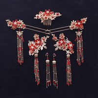 китайский головной убор оптовых-2018 new Chinese Red  tassle bride headwear ancient costume tassel wedding hair jewelry