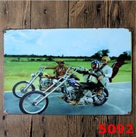 motosiklet kalay metal toptan satış-Motosiklet Vintage Craft Kalay Işareti Retro Metal Boyama Antika Demir Posteri Bar Pub Işaretleri Duvar Sticker Sanat wn563 200 adet