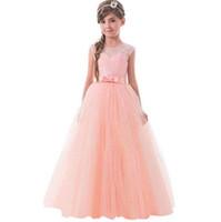 robes de gaze de dentelle sans manches rose achat en gros de-Robes de demoiselle d'honneur pour mariage Blush Rose Princesse Tutu Paillettes Appliquées Dentelle David