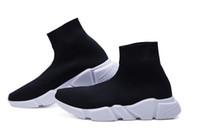 Wholesale shoe online - 2018 Luxury Brand Designer Shoes Speed Trainer Black Red Mr Porter Triple Black Flat Fashion Socks Boots Sneaker Speed Trainer Runner