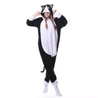 ingrosso stella nero-Animal Black Cat Onesie Uomo Donna DJ Kitty Onesie Pigiama di corrispondenza Complessivo adulto degli indumenti da notte del fumetto Carnevale Big Size Fashion Suit