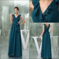 f13972cade6cd Wholesale low back chiffon evening dress for sale - V Neck Chiffon Long  Evening Dresses Elegant