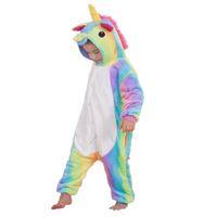çocuklar onesie toptan satış-Güzel çocuklar onesie pijama karikatür unicorn cosplay raninbow pazen pijama 3-10years için çocuk erkek kız kalın sıcak pijama giyim
