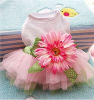 flores encantadoras de la historieta al por mayor-Sun Flower Lovely Skirt Vestido de perro de moda Mascotas pequeñas Suministros Accesorios Ropa Exquisita Ropa de dibujos animados creativa 6 2gg jj