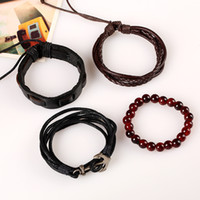 Wholesale tribal beads wholesale - Multi-layer 4 Wrap Anchor Bracelets Mens Wood Beads Ethnic Tribal Bracelets Leather Wristbands Jewelry for Women Gifts Free DHL H446R