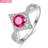 Wholesale red tourmaline jewelry - JROSE Wholesale Unique Round Cut Pink Tourmaline & White Cubic Zirconia Women Jewelry Silver Ring Size 6 7 8 9 For Lady Wedding