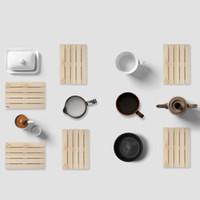 Wholesale Multifunctional Tableware - Tea Cup Mats Wood Original Design Multifunctional Cups Pot Flowerpot Tableware Pad Non Slip Kitchen Dining Bar Palette Coaster 4 8yk X