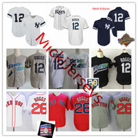 Wholesale tampa baseball - Mens 1998 #12 Wade Boggs Tampa Bay 20TH Jersey #26 Wade Boggs New York 1996 WS Jersey stitched Boston Cooperstown Baseball Jerseys S-3XL