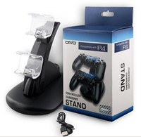 base de carga ps4 al por mayor-Playstation LED Dual USB Cargador Dock Mount Soporte del soporte de carga para PS4 inalámbrico XBOX ONE GamOX ONE Gamepad Controladores de juego con paquete DHL